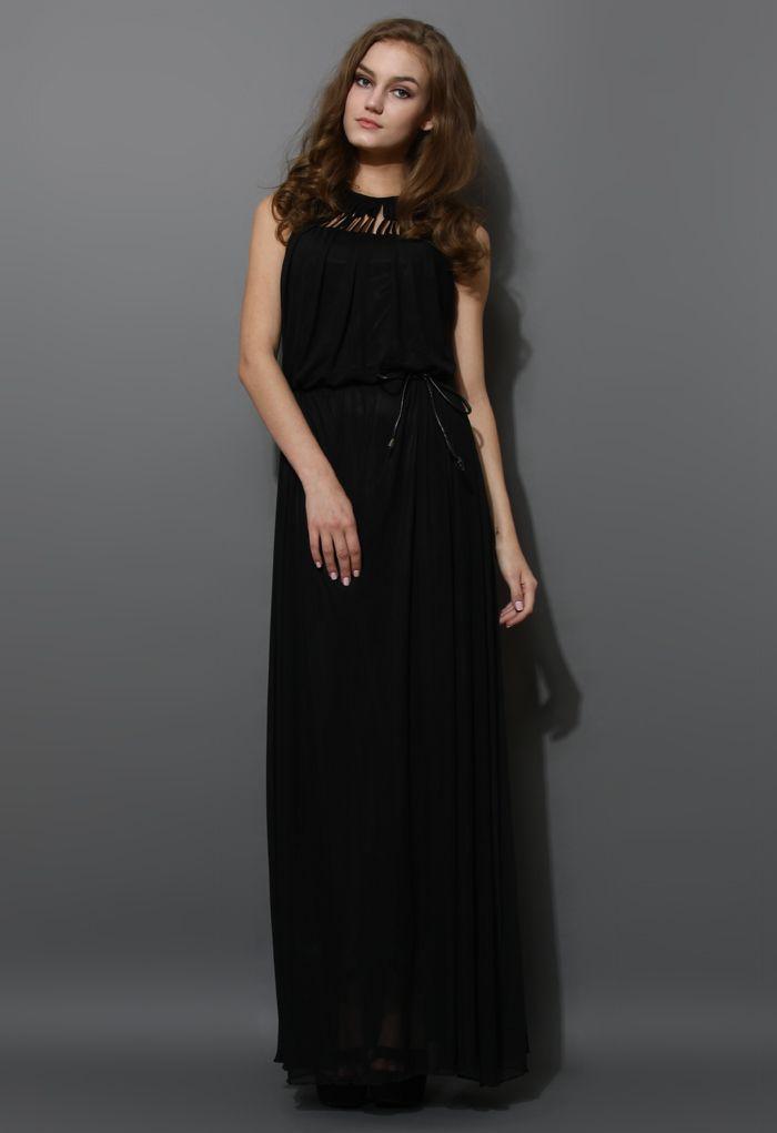 Cage Cut Out Neckline Maxi Dress in Black - Maxi - Dress - Retro, Indie and Unique Fashion
