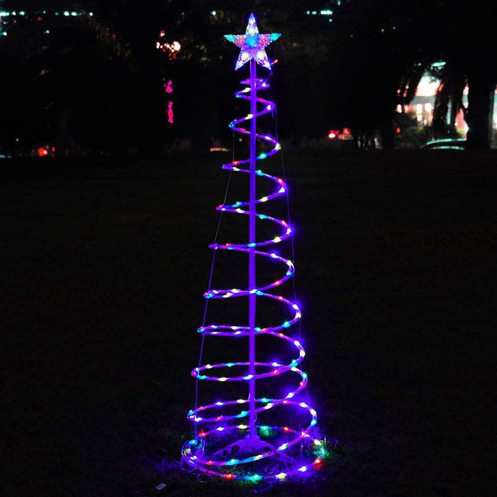 Color Changing Christmas Led 6ft Spiral Tree Light Xmas Holiday Decor Bat Spiral Christmas Tree Decorating With Christmas Lights Outdoor Christmas Decorations