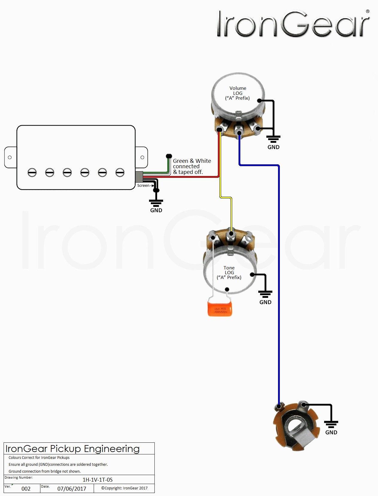 2 Humbucker 1 Volume 1 Tone Wiring Diagram Irongear
