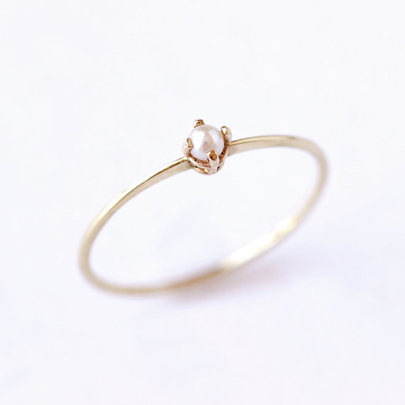Gold Pearl Ring Dainty Engagement Ring Seed Pearl Ring Pearl