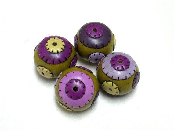 4 round patchwork like multicolor beads original handmade beads artisan handmade beads