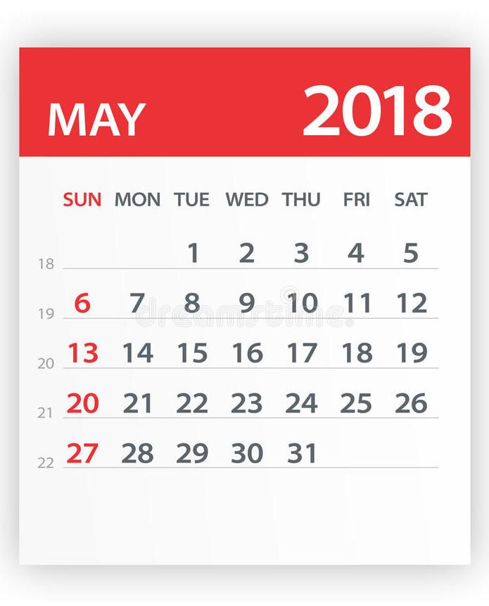 May 2018 A4 Calendar Template 2018 Printable Calendars Pinterest