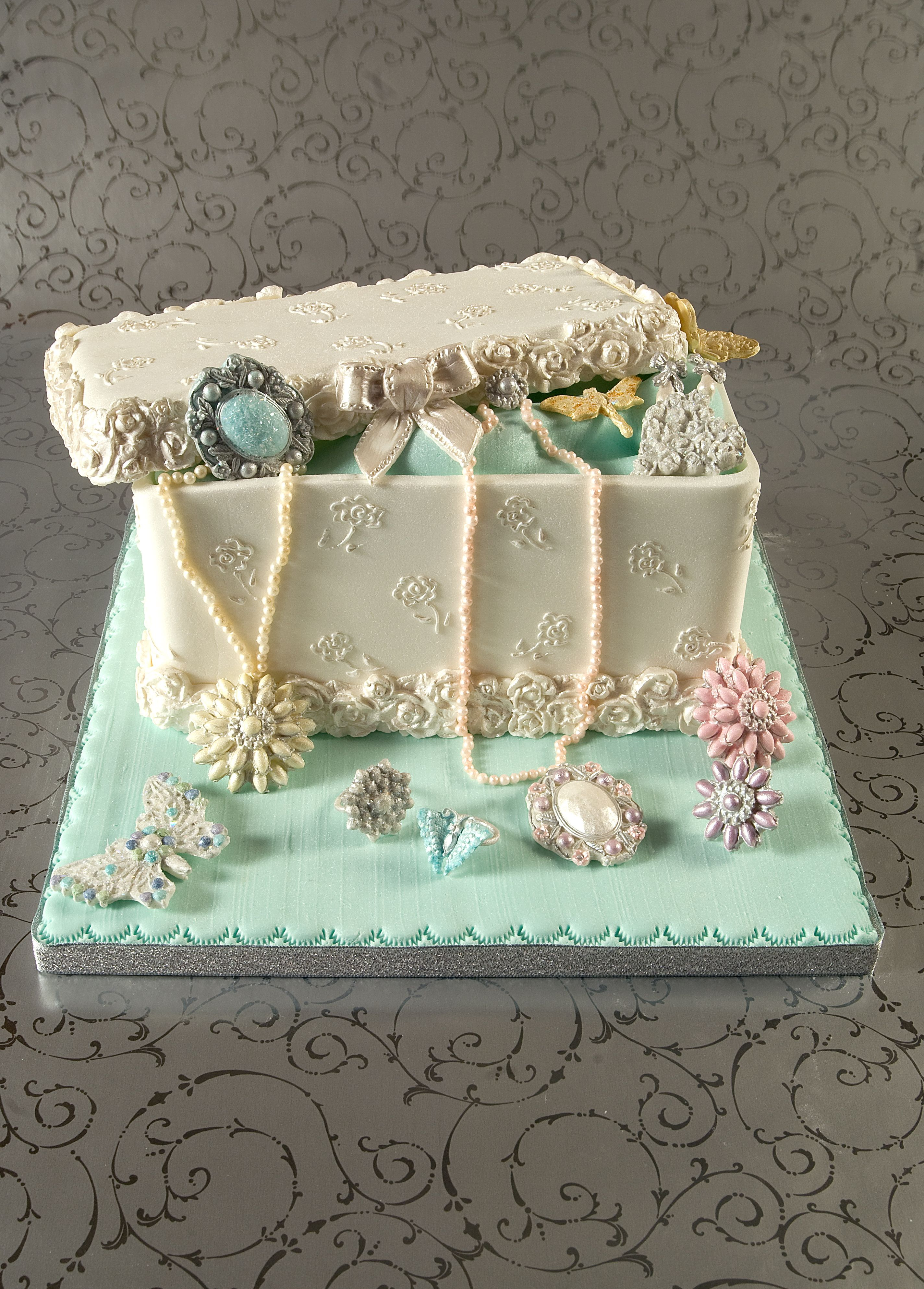 A jewelry box cake that i made for the cake craft and - Jewel cake decorations ...