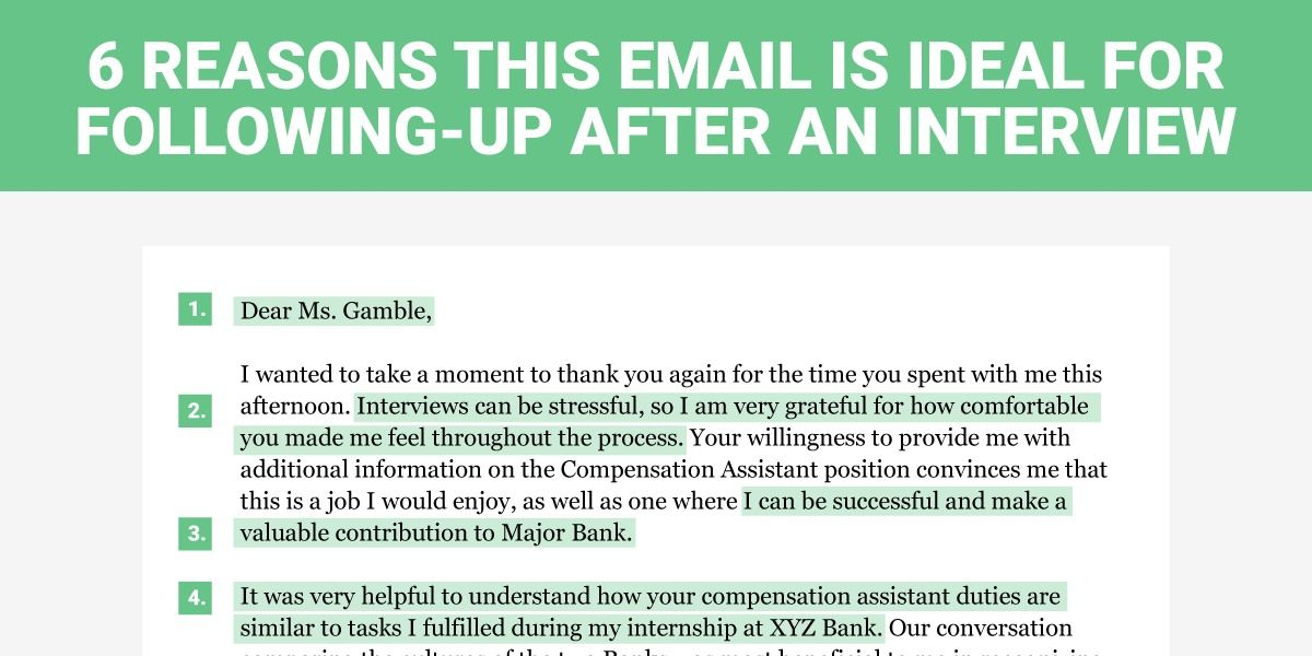 Follow Up After Interview Gorgeous 6 Reasons This Is The Perfect Thankyou Email To Send After A Job .