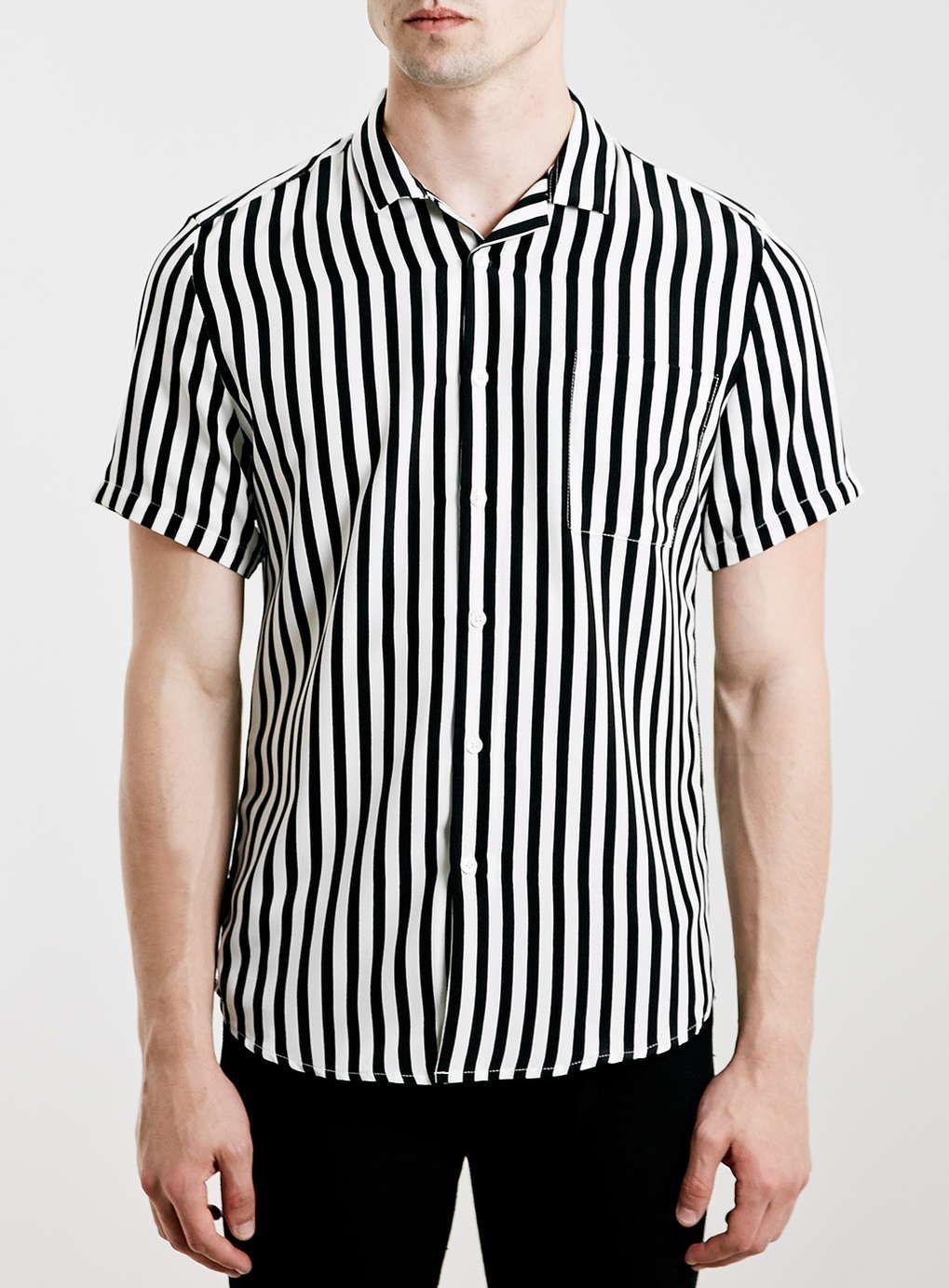 6f1f4f883b54 Black/White Stripe Revere Collar Drapey Short Sleeve Smart Shirt ...