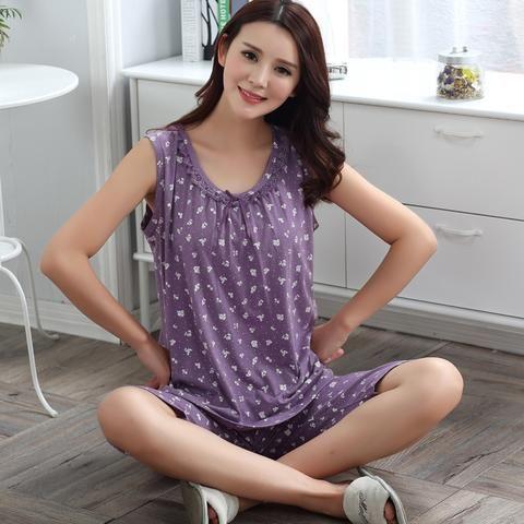 9467adee27 Peignoir home women pijama cotton knited feminino pajamas set M-4XL  sleeveless summer female vest sleepwear home clothing