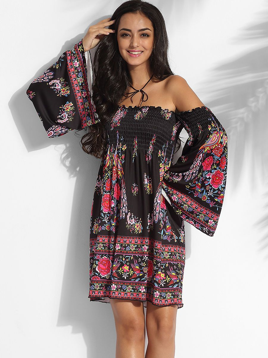 You like these Off Shoulder Cotton Assorted Colors Floral Printed Shift-dress…