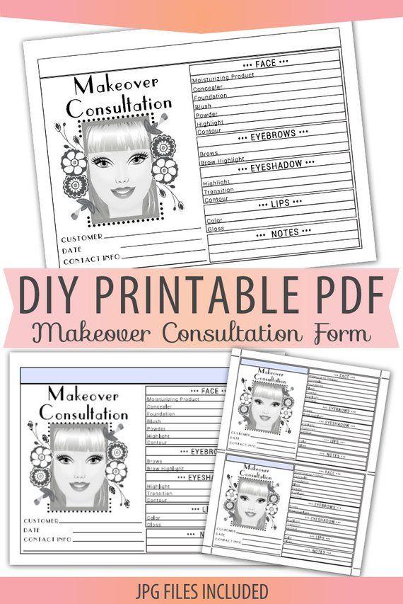 Beauty Makeup Makeover Consultation Order Form Sheet Letter Size