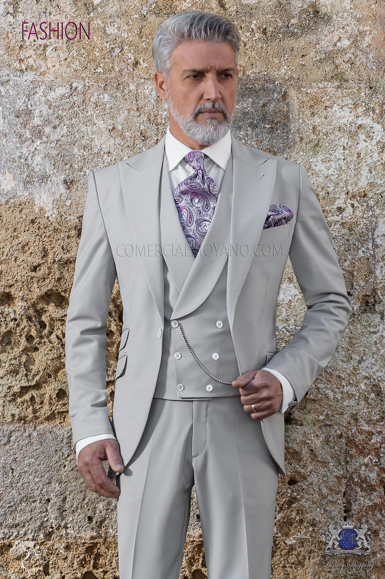 Italienisch Anzug Hellgrau Aus Reiner New Performance Herrenmode