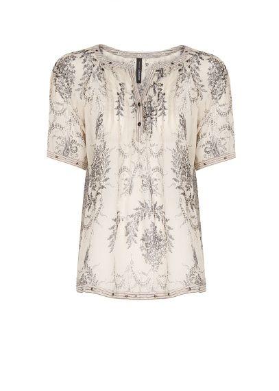 MANGO - Pleated chiffon printed blouse