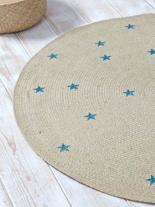 Kinderteppich sterne rund  Jute-Teppich, rund, Sternen-Muster NATUR/BLAU/STERNE ...