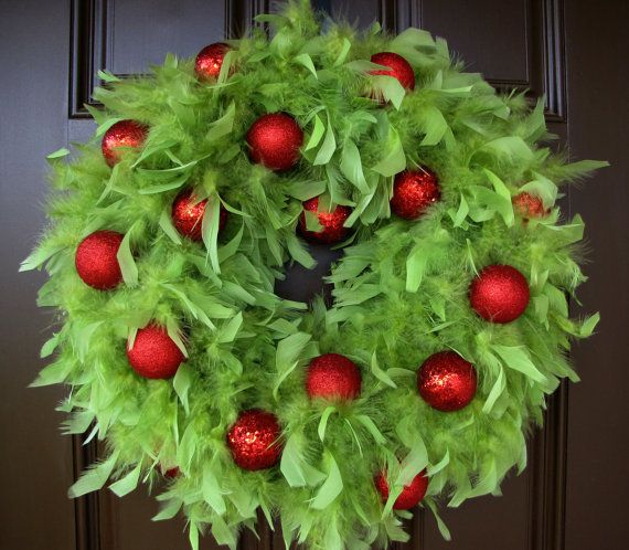 Christmas Wreath   Lime Green Feather Wreath by TheWrightWreath, $80.00
