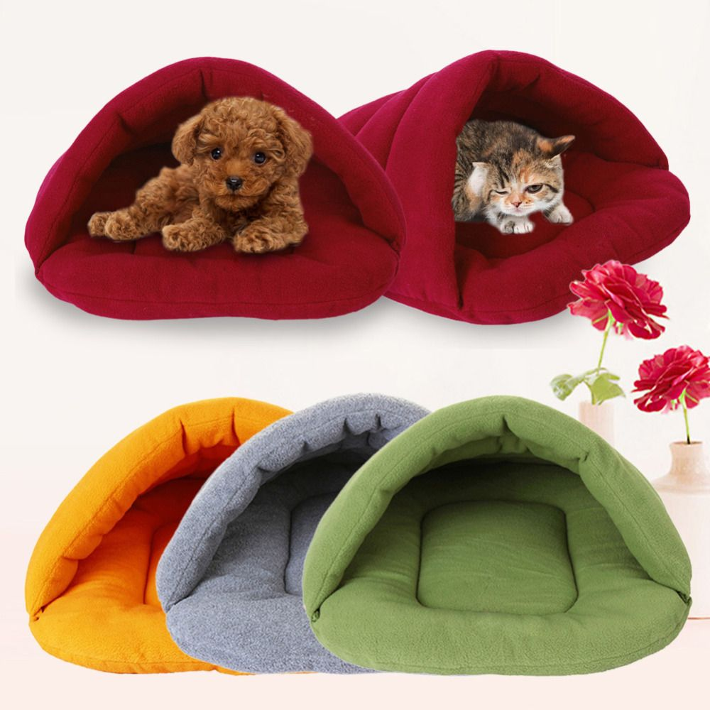 pet dog crate cat cave keep warm winter bed house sleeping bag plush