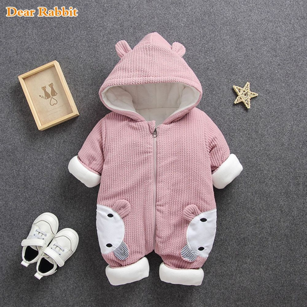 Toddler Baby Boys Girls Romper Hooded Jumpsuit Winter Warm Thick Coat Outwear BF
