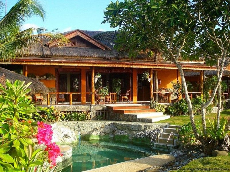 Beautiful Resort Design With Natural Swimming Pool Exposed Stone Beach Resort With Tropical Ga Philippines House Design Philippine Houses Bungalow House Design