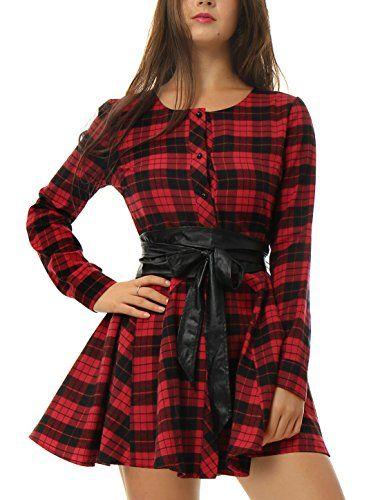 Allegra K Donna Maniche Lunghe Cintura Scozzese Vestito Casual - cotone  Rosso 80% cotone 20% poliestere Donna M 40 EU 828e3922b5a