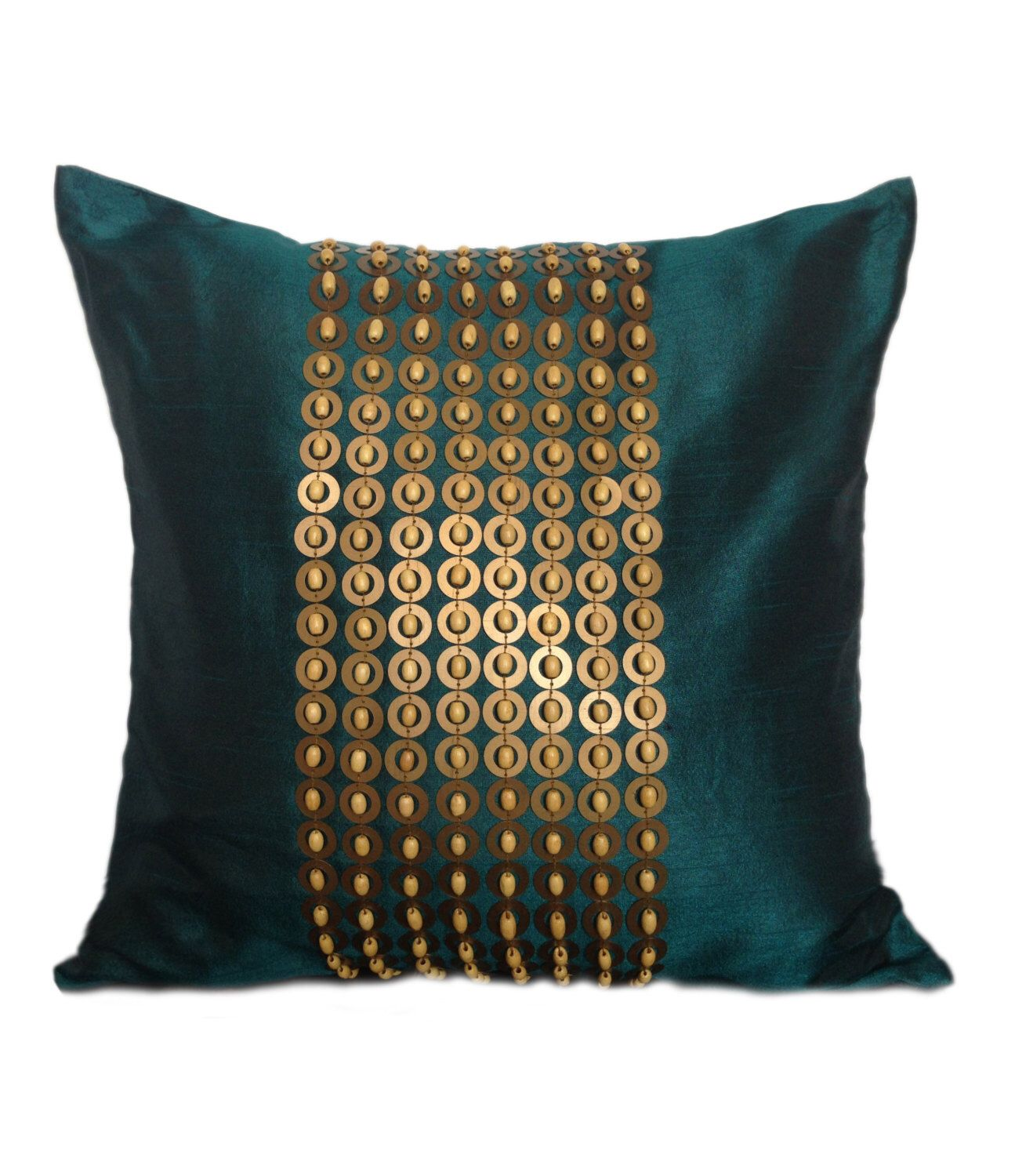 Teal throw pillow with gold sequin and wood beads embroidery x