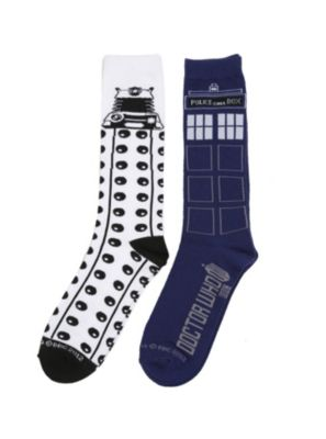 7de3c2e943 Doctor Who TARDIS Dalek Men's Crew Socks 2 Pack Doctor Who T Shirts, Doctor  Who