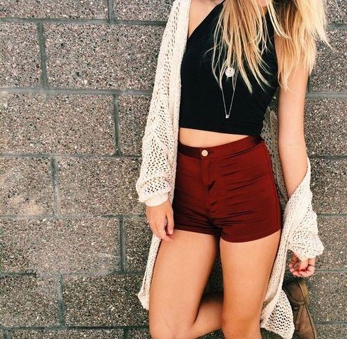d179c3954 Black Halter Crop Top   Maroon High-Waisted Shorts   Knit Cream ...