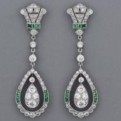 Art Deco European-cut Diamond Earrings