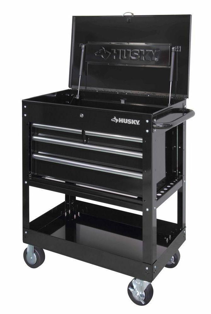 Husky Tool Cart >> Husky 33 In 4 Drawer Mechanics Utility Tool Cart Storage