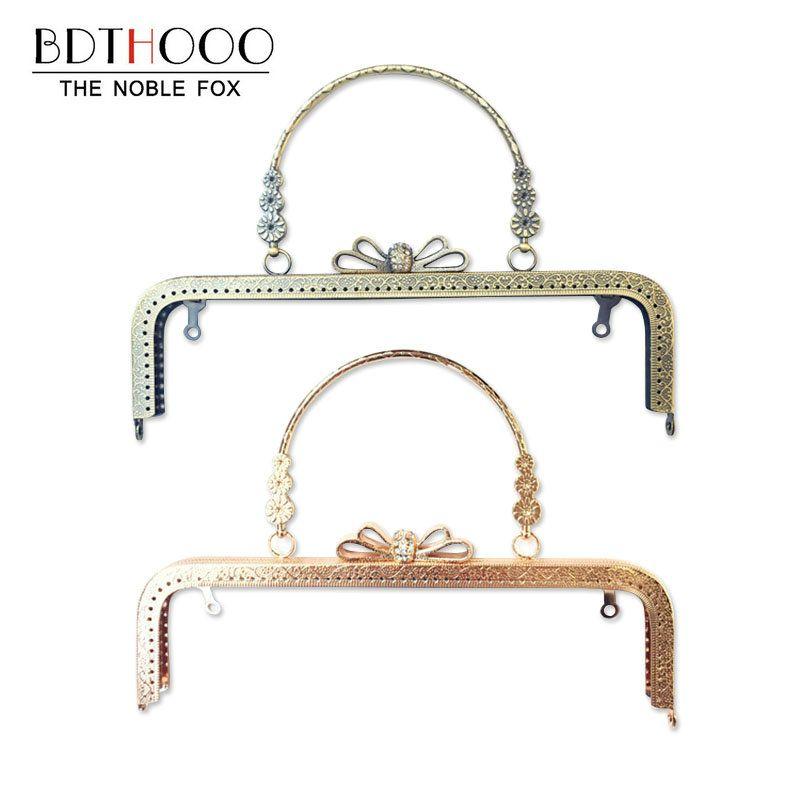 Bag Accessories Metal Purse Frame Handle Diy Kiss Clasp Lock For Women Clutch Handbag Hardware Antique Diamond