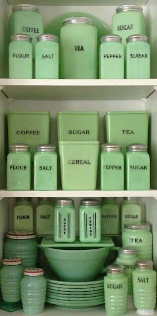 DIY jars for kitchen storage - Upcycle old jars and vases for kitchen storage. Use a vintage color and vintage lettering or labeling. #vintagekitchen