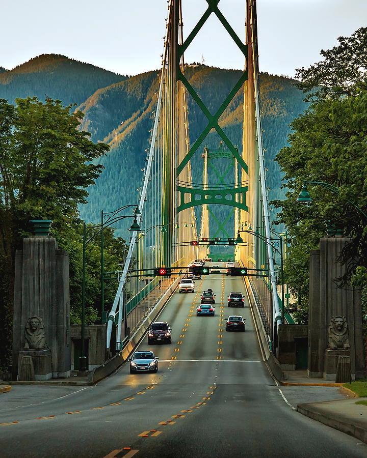 Vancouver - Canada Photograph - Lions Gate Bridge At Sunset Time by Alex Lyubar #AlexLyubarFineArtPhotography#VancouverCanada#LionsGateBridge#Sunset#ArtForHome#FineArtPrints#HomeDecor#FineArtForSale