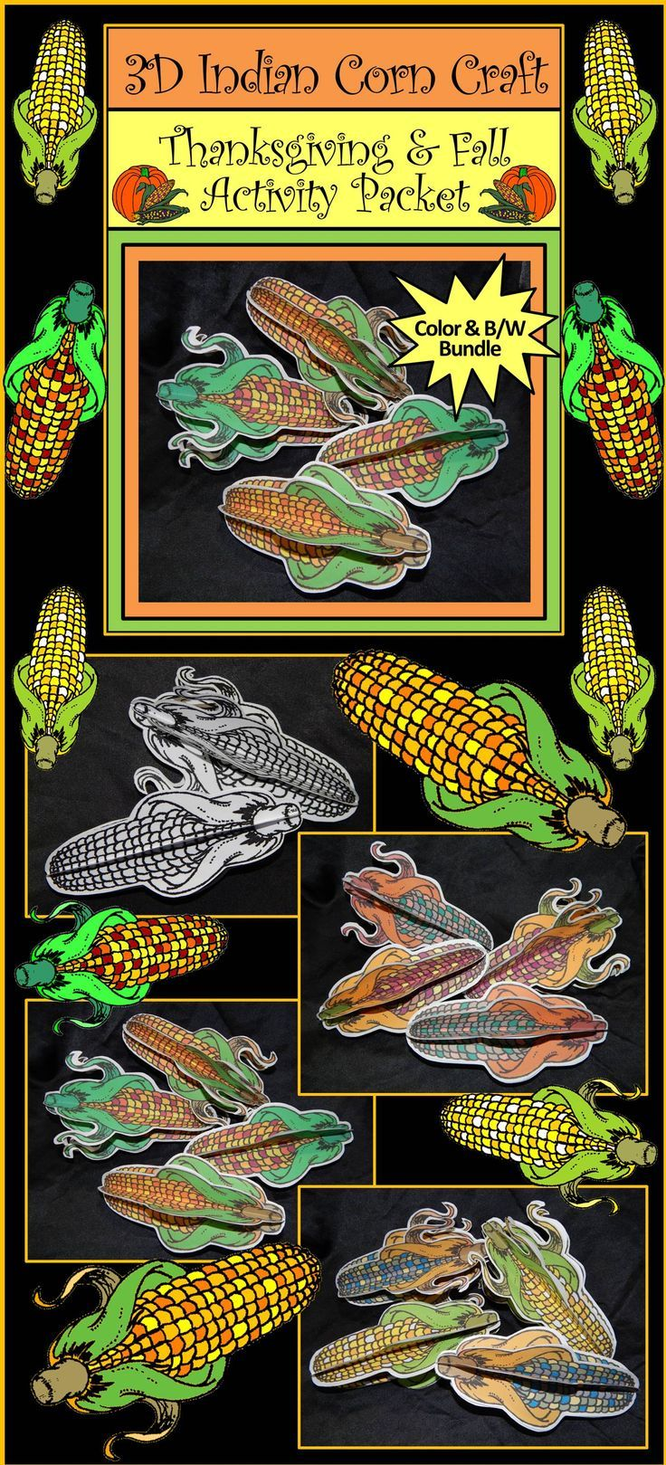 Classroom window decoration  Thanksgiving Crafts D Indian Corn Fall Activity Packet Bundle