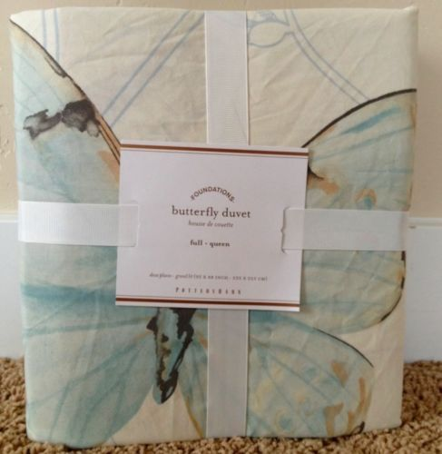 Pottery Barn Butterfly Shower Curtain New Bath Watercolor Floral