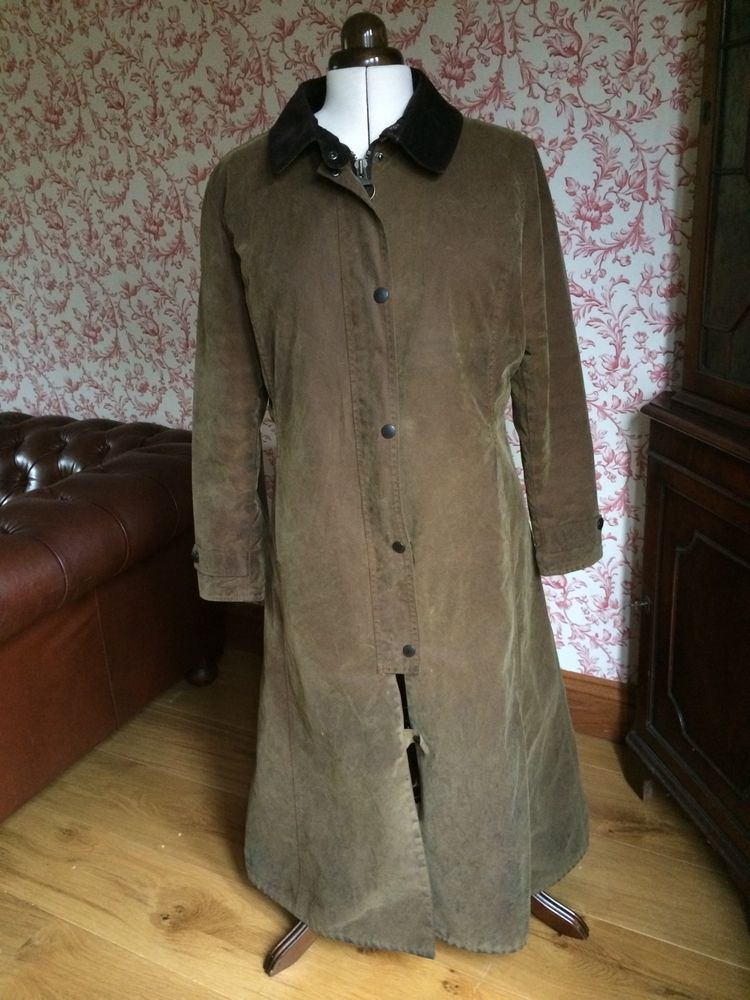Vintage barbour newmarket wax long coat size 16  ada71ff30