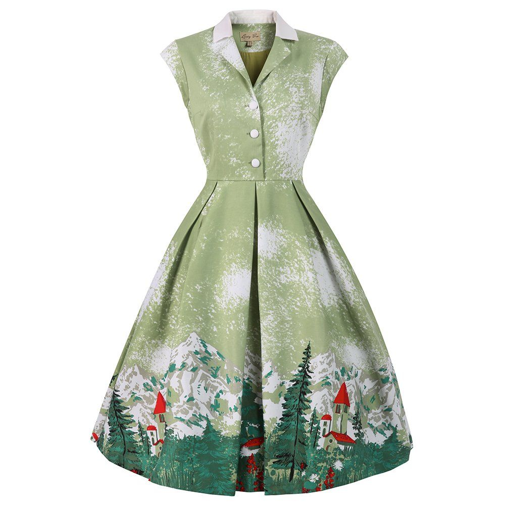 Nice Christmas Party Dresses: Gilda' Green Alpine Print Swing Dress