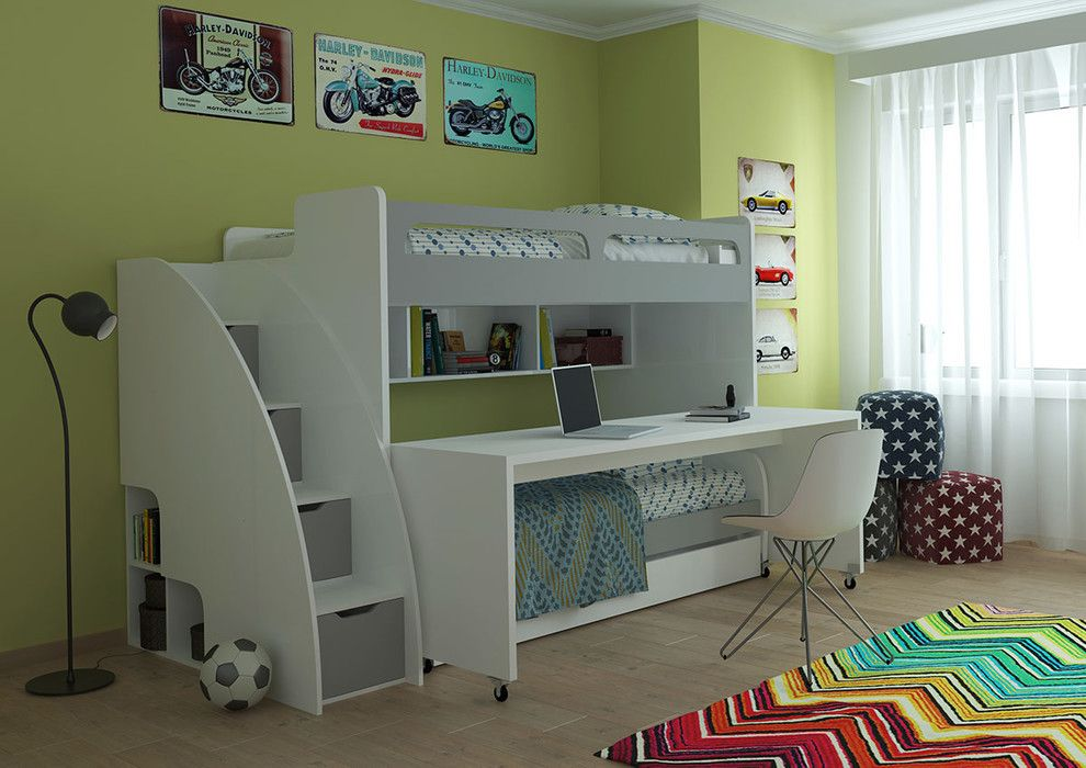 Convertible Bunk Bed With Trundle White And Silver Blue Sofa