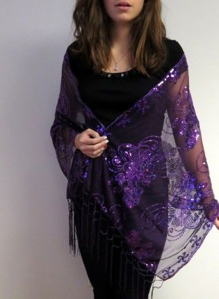 033d5aed03d63 Dark Purple Embellished Evening Wrap Shawl - Silk Evening Shawls - Dressy  Evening Shawls