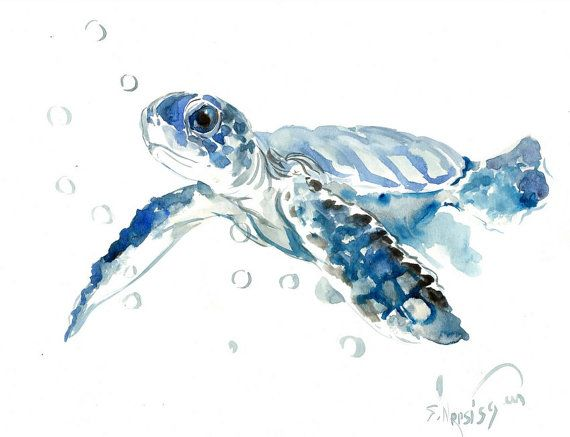 Sea Turtle Painting Original Watercolor Painting 14 X 11 In Blue
