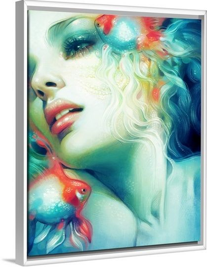 """Bring a sense of ethereal beauty & mystery to your space with contemporary wall art that blends captivating bursts of color with fantasy inspired art. See more of this stunning """"Scale"""" canvas print by Anna Dittman, featured in a white floating frame, at GreatBIGCanvas.com."""