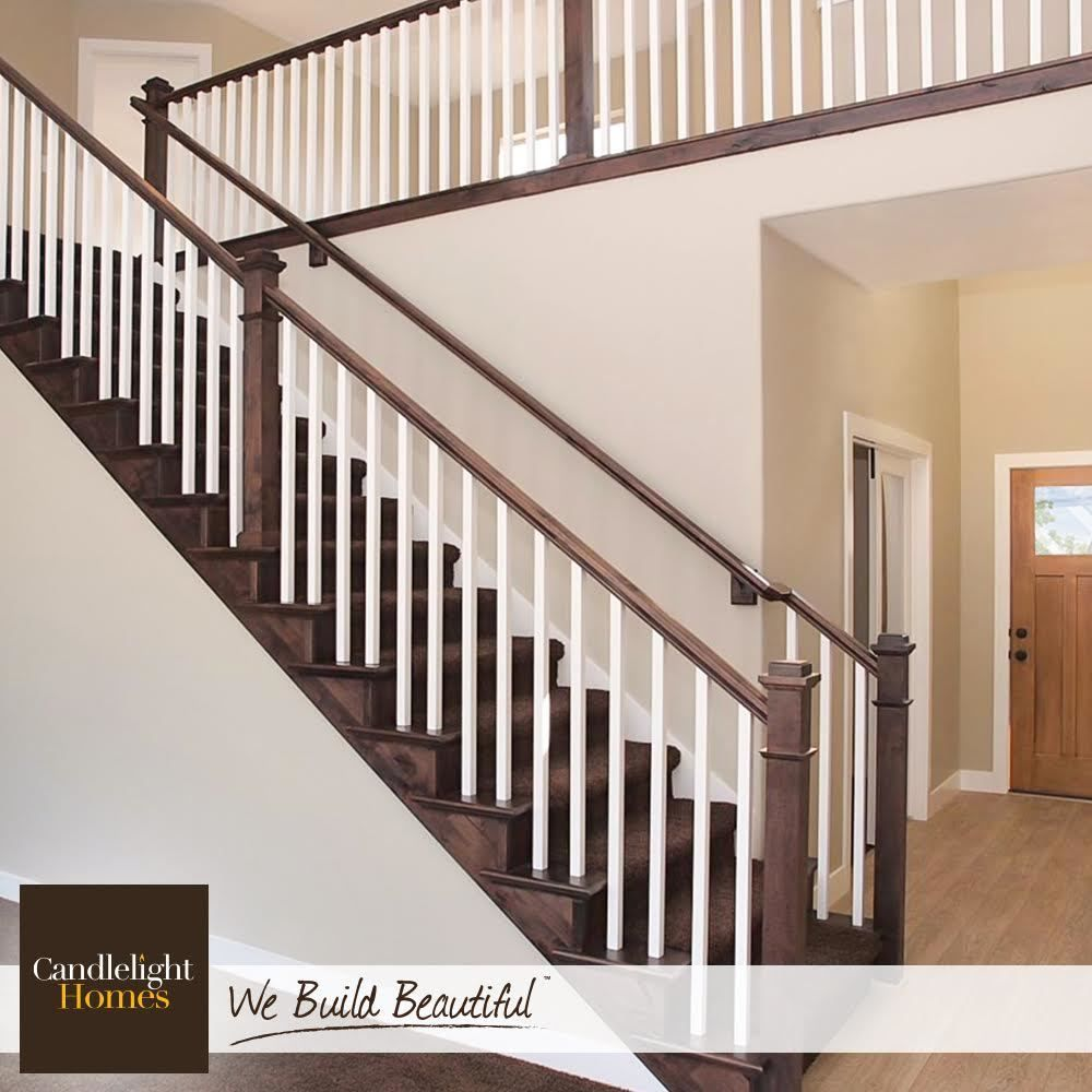 Step Up Your Stair Game With A Two Tone Railing Candlelighthomes   Stair Handrails For Sale   Iron Staircase   Cable Railing   Deck Railing   Handrail Bracket   Balusters