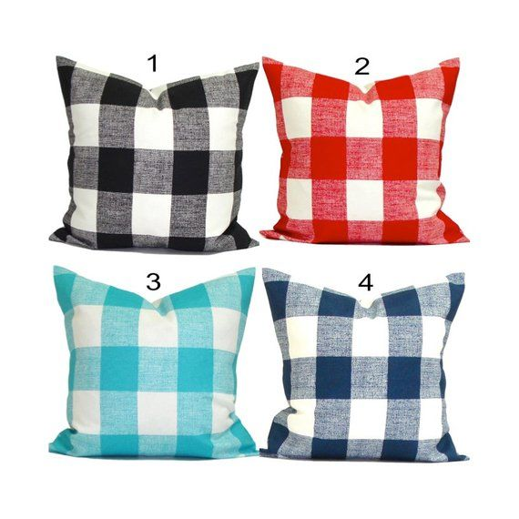 Outdoor 4th Of July Pillow Covers Outdoor Plaid Pillows Check