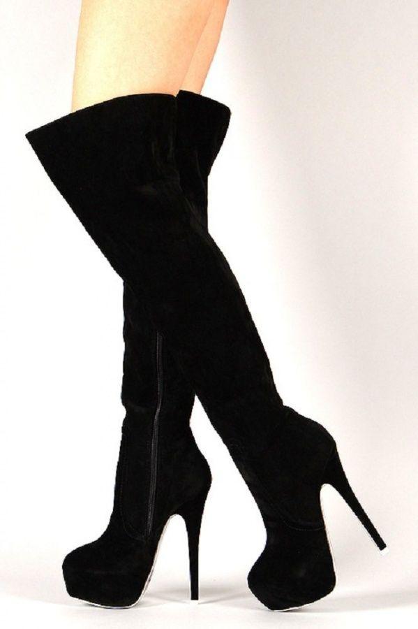Alba Mia 3 Black Suede Almond Toe Stiletto Platform Boot Over Knee Shoes Sapatos De Grife Looks Botas