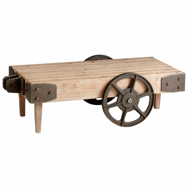 Wooden Cart With Wheels | Raw Iron And Natural Wood Industrial Look Cart  Table W Wheels