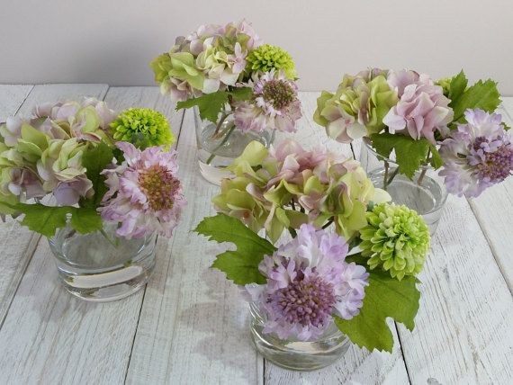 Purple lime green silk flowers in vase silk flower arrangements purple lime green silk flowers in vase silk flower arrangements lilac scabious hydrangeas artificial faux mightylinksfo Images