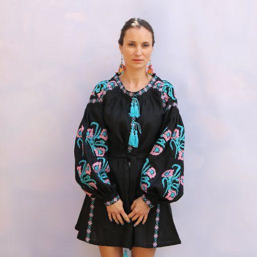 Black pink blue Vyshyvanka Vita Kin style Embroidered Bohemian Linen Folk Embroidery MINI Dress Boho Vita Kin Style. Sizes - XS-XXL