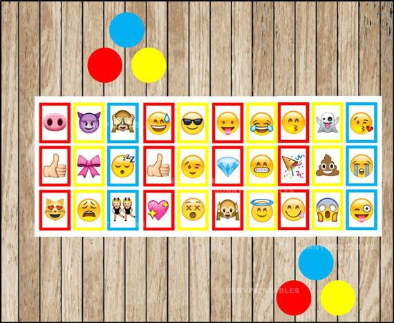 image about Bingo Chips Printable named Printable 10 Emoji Bingo Playing cards; printable Emojis Bingo match