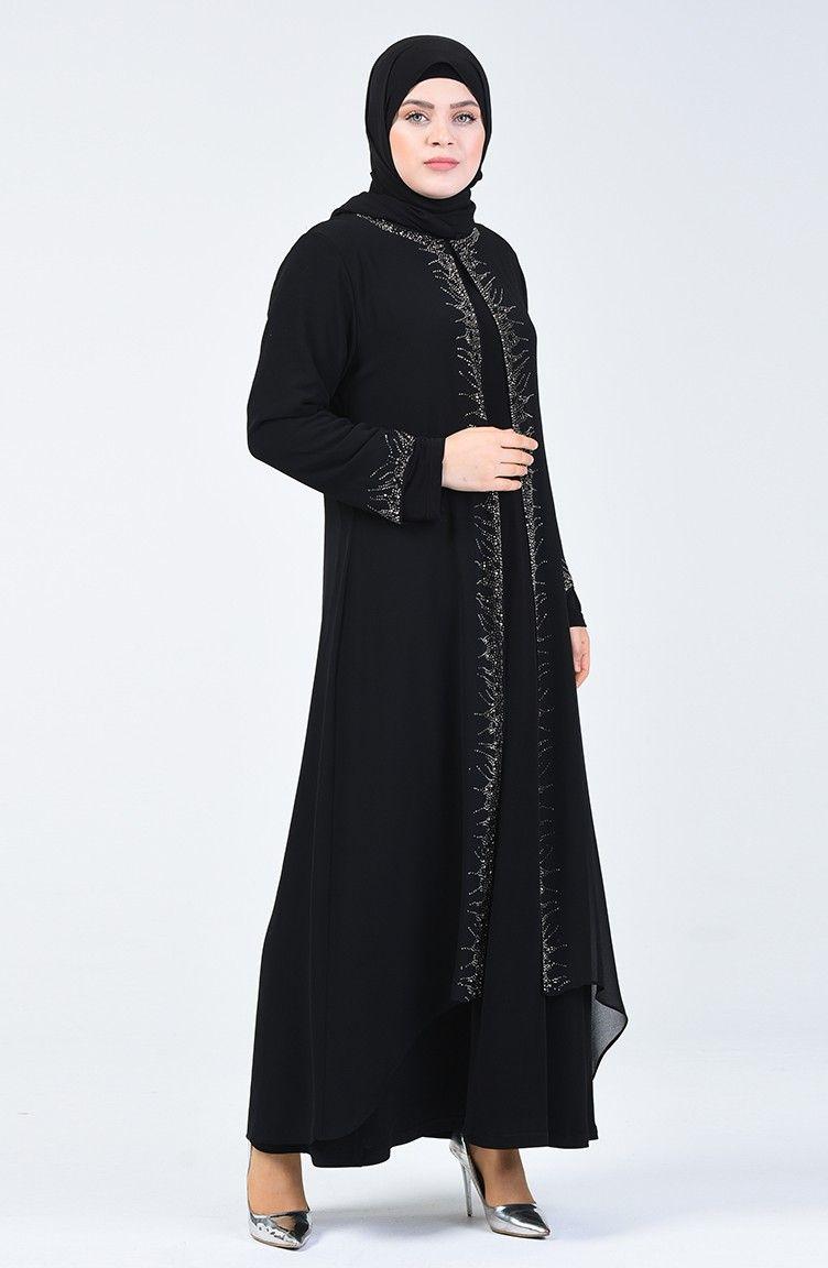 عباية بتطريزة ناعمة على الصدر لون اسود Chic Hanim Fashion Dresses Nun Dress