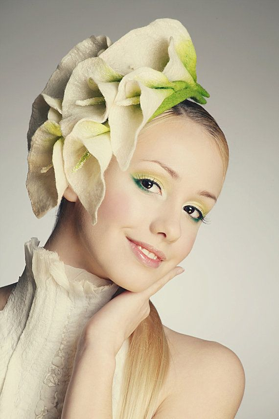 Elegant flower Calla Lily fascinator hat with merino wool 350dab81db2