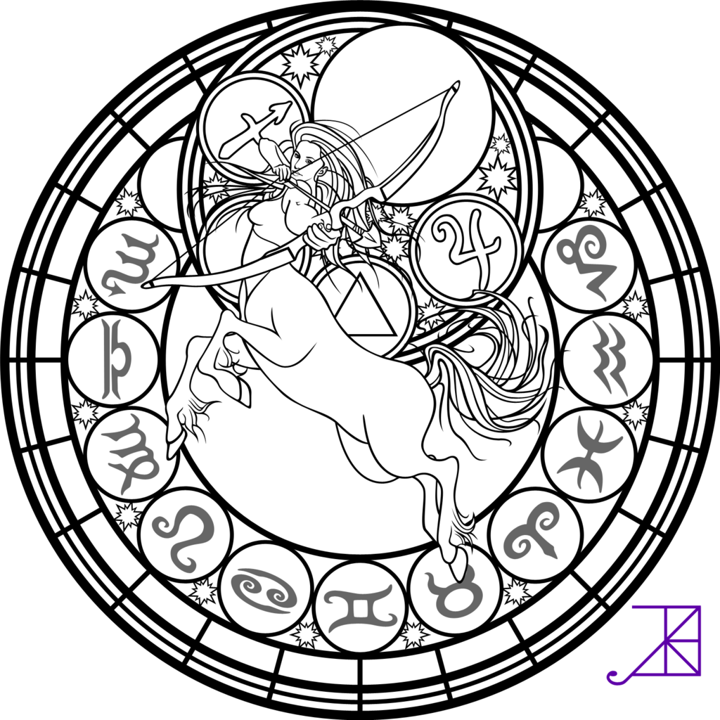 Zodiac sagittarius stained glass coloring page by akili amethyst deviantart com on deviantart