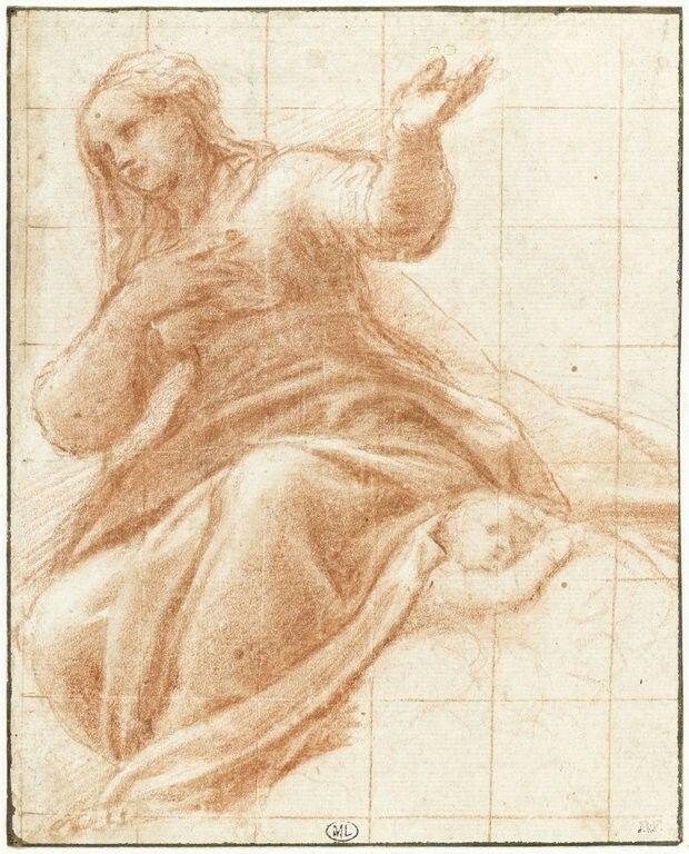 ALLEGRI Antonio Ecole lombarde La Vierge assise sur des nuages et un putto