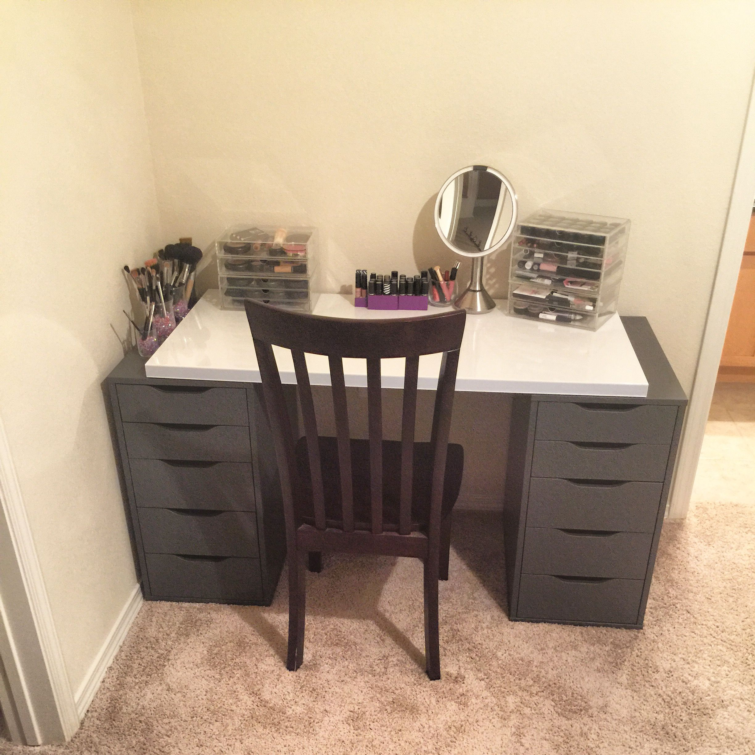 My work in progress Makeup Vanity using Ikea Alex Drawers in Gray and the Ikea Linnmon High Gloss White table top Acrylic drawers from muji and vanity