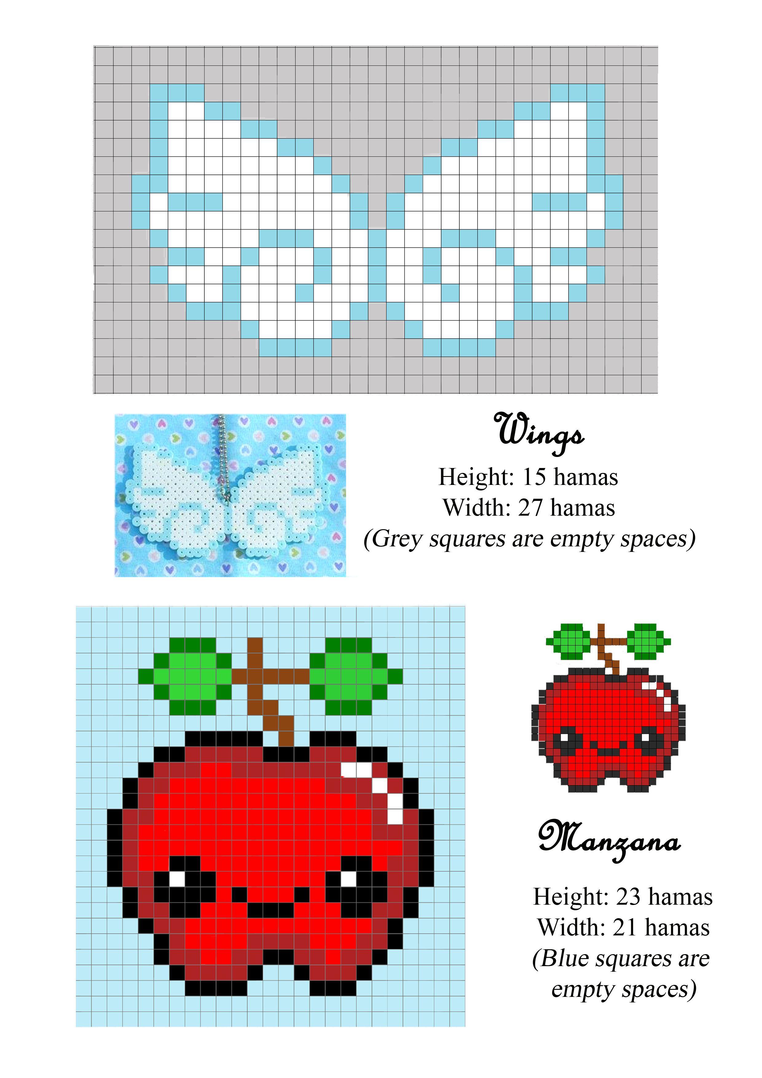 Wings Apple alas manzana hama beads pattern patron | Manualidades ...