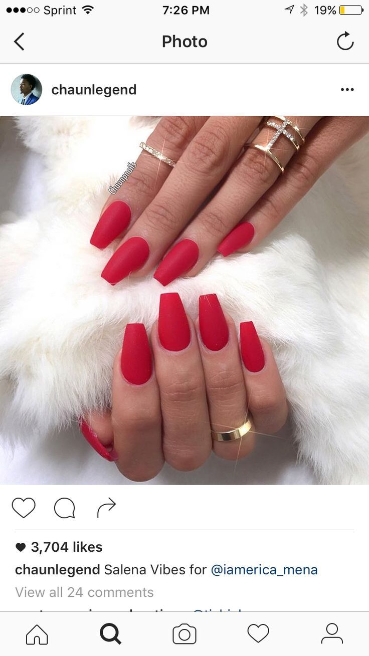 Matte red coffin nails   Nails   Pinterest   Coffin nails, Nail swag ...